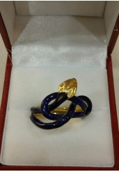 Blue Enamel Snake ring