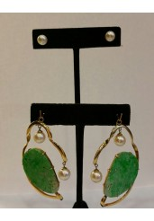 Chinese Jade Plaque Earrings