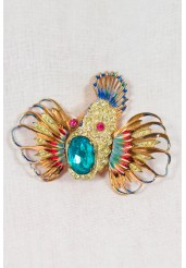1940 Adolph Katz Coro Craft Sterling Rhinestone Rock Fish Pin / Brooch